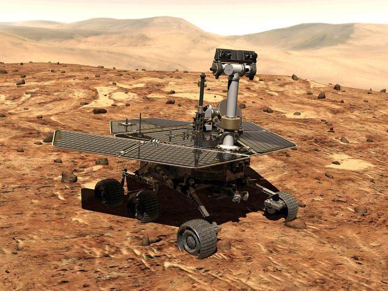 De Opportunity op Mars (artistieke impressie).