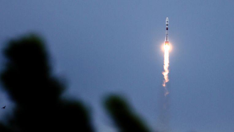 Lancering van de Soyouz-raket, dinsdag in Kourou Beeld afp