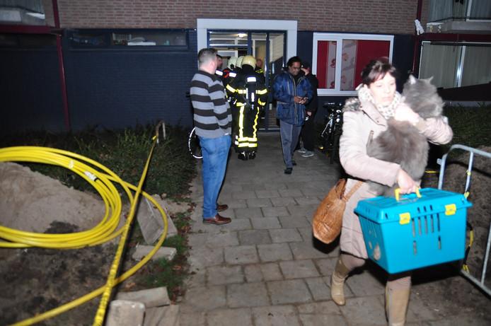 Een van de bewoners van de ontruimde flat in Waalwijk met haar twee katten.