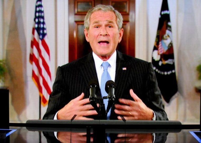 Bush op de satelliet. Foto EPA/Tannen Maury Beeld
