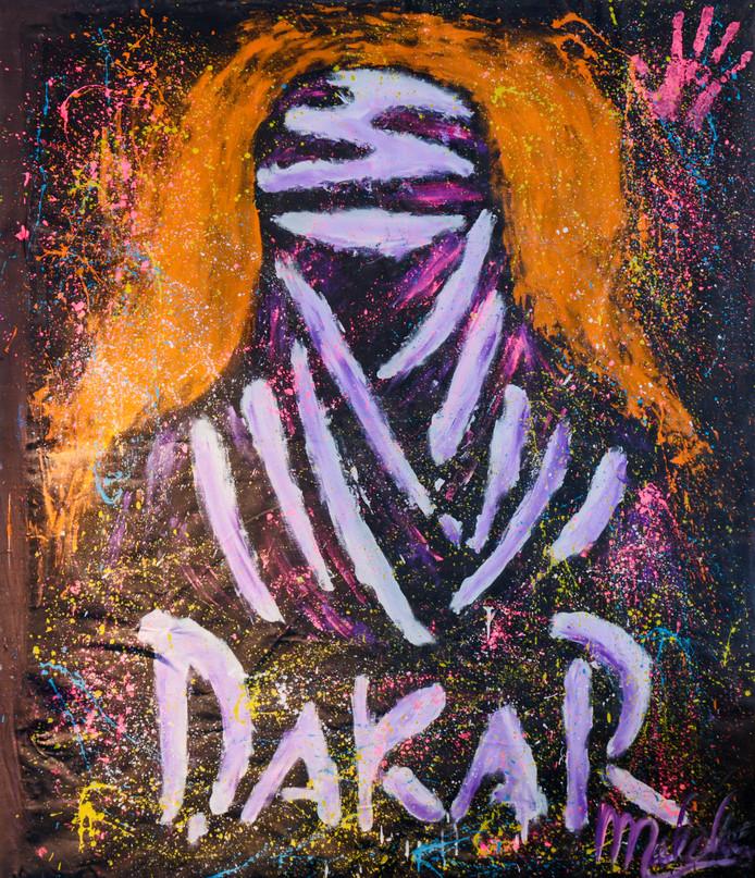 Dit kunstwerk heeft Tim gekocht tijdens een van zijn Parijs Dakar rallies.