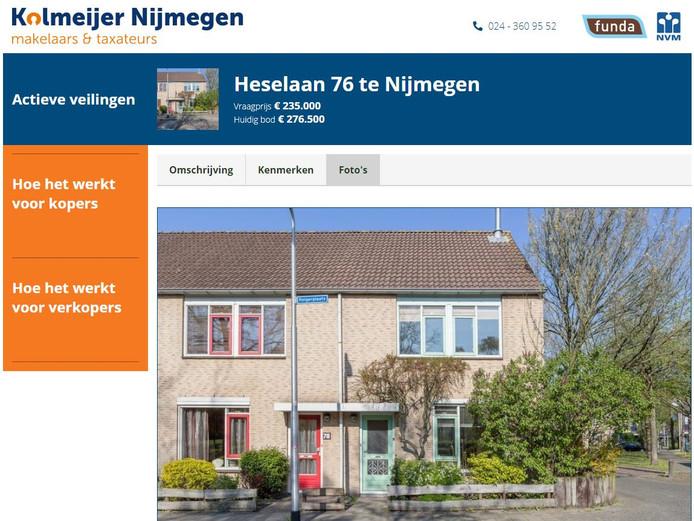 Een woning aan de Heselaan in Nijmegen is via de veilingsite van Kolmeijer verkocht.