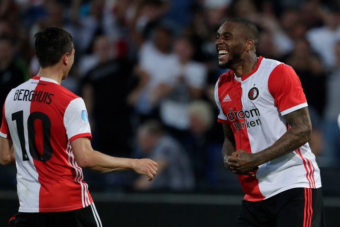 Feyenoord haalde Leroy Fer (r) terug en verlengde met Steven Berghuis.