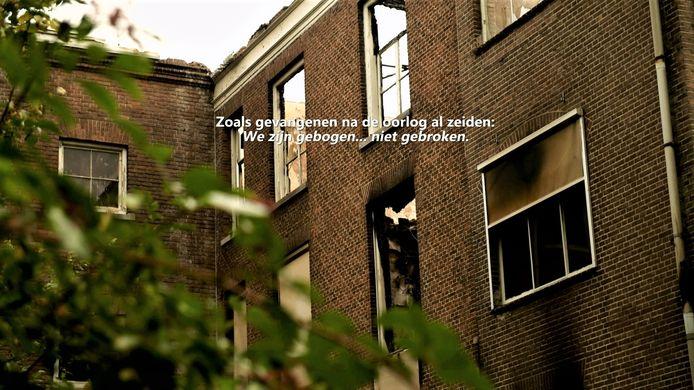 Still uit de documentaire over Kamp Haaren van Ellen van Kempen. Ze filmde zowel voor als na de brand van 31 augustus 2019 op Landgoed Haarendael.