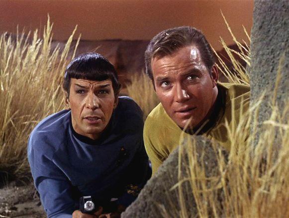 Leonard Nimoy als Mr. Spock en William Shatner als Captain James T. Kirk.