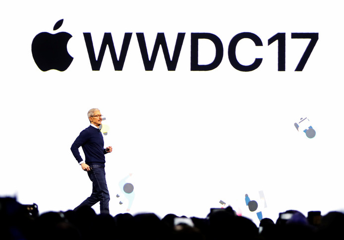 Tim Cook op Apple's WWDC softwareontwikkelaarsconferentie in juni 2017