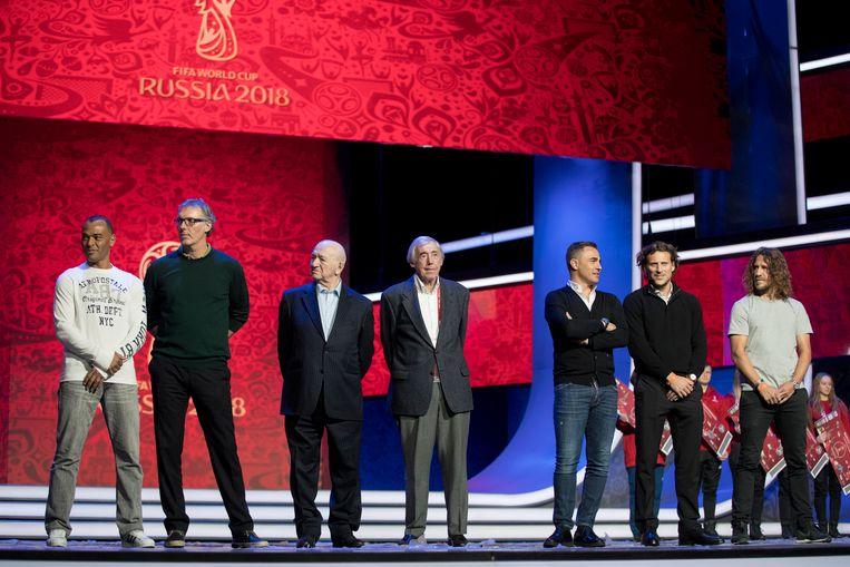 Cafú, Blanc, Simonjan, Banks, Cannavaro, Forlán en Puyol.