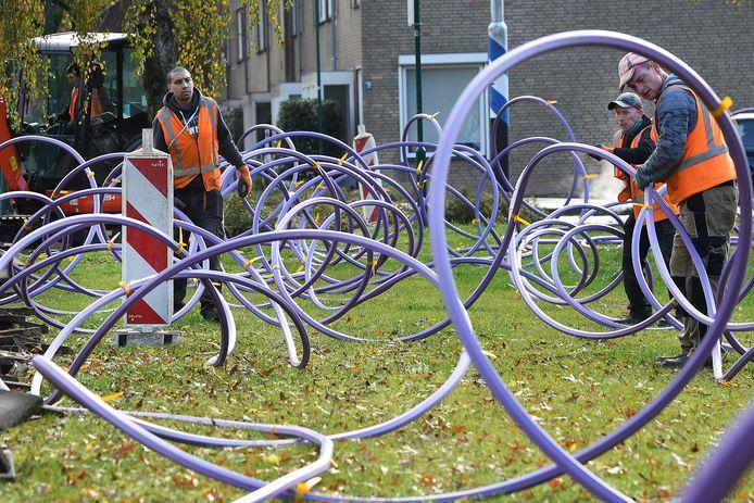 November 2019: kabels worden ontward  in Cuijk.
