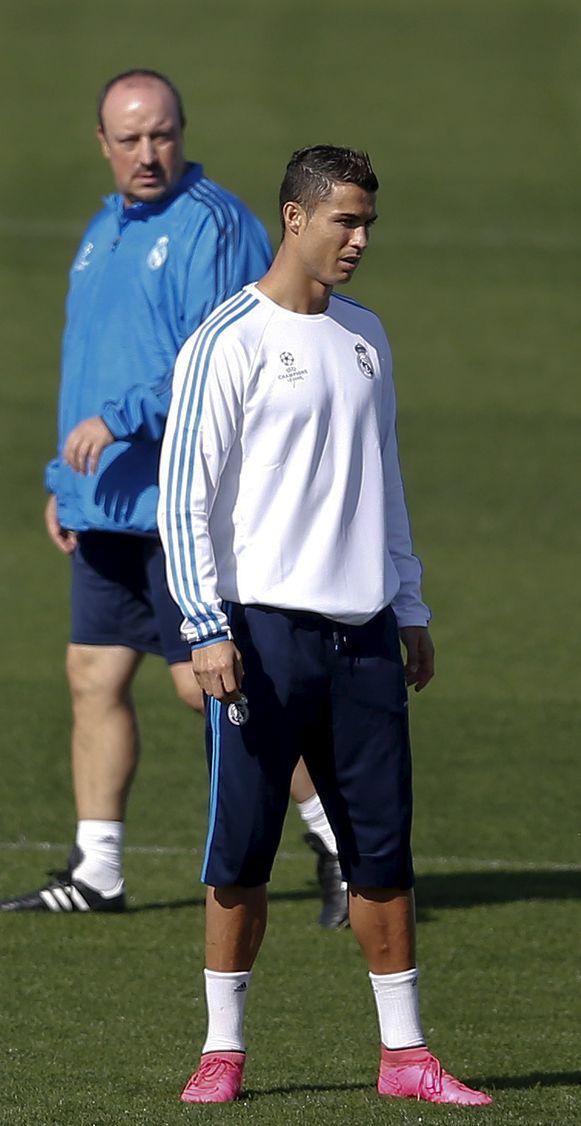 Benitez en Ronaldo op training