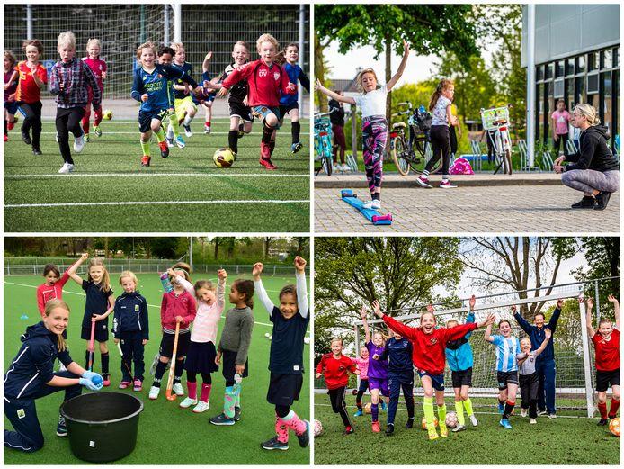 De jeugd mag weer sporten! Linksboven: de jeugd van Sportlust '46 in Woerden. Rechtsboven: turnvereniging Turn2gether. Linksonder: Mixed Hockey Club in Gouda. Rechtsonder: De voetbalmeiden van ARC.