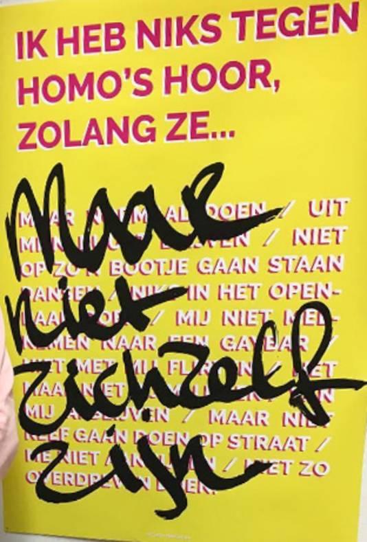 Poster van Rotterdamse student tegen 'voorwaardelijke homo-acceptatie'.