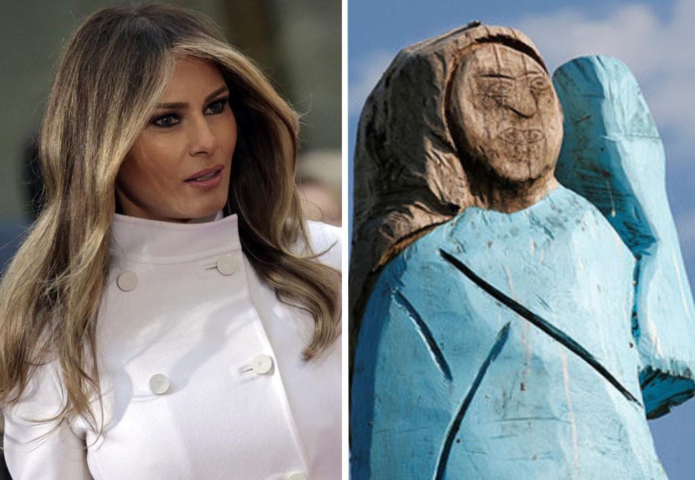 Melania Trump en haar standbeeld.