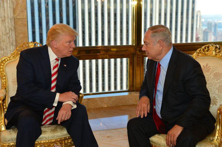 Trump en Netanyahu tijdens een ontmoeting in 2016 Beeld Photo News