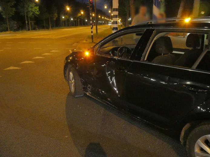 De auto raakte flink beschadigd bij het ongeval