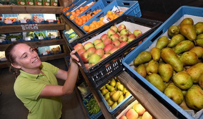 Buren Het eerste geoogste zomer fruit , appels en peren wordt in de schappen gezet bij Maijke's Fruitkorfje.Foto William Hoogteyling