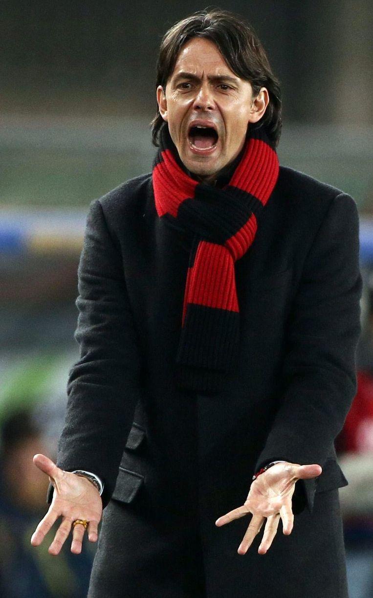 Inzaghi tijdens het duel tegen Chievo. Beeld epa