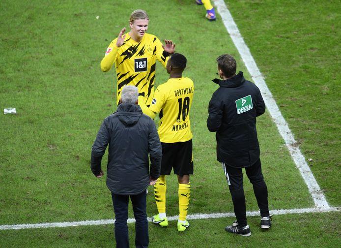 De 16-jarige Youssoufa Moukoko kwam tegen Berlijn doelpuntenmachine Erling Haaland vervangen