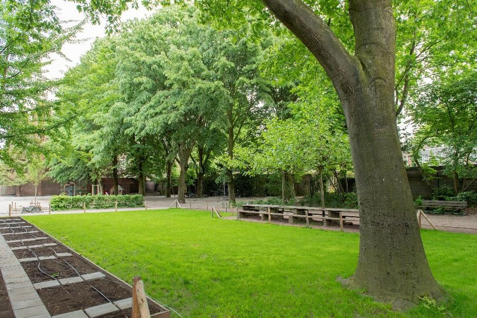 De Kloostertuin - één van de weinige groene plekken met speeltoestellen in het stadshart - is weer een prachtig parkje geworden