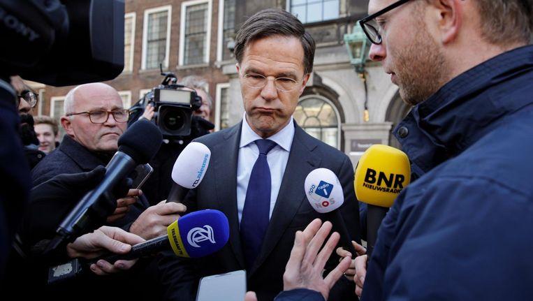 VVD-fractievoorzitter Mark Rutte komt aan bij de Tweede Kamer voor een gesprek met verkenner Edith Schippers. Beeld anp