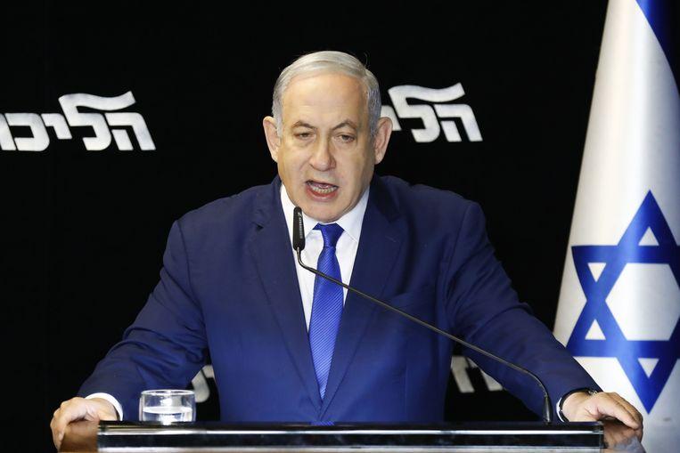 Benjamin Netanyahu geeft een overwinningsspeech na de voorzittersverkiezingen van zijn Likoed-Partij.