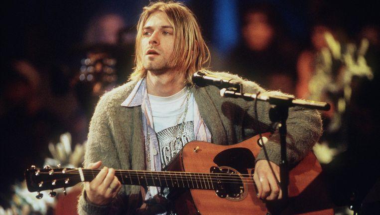 Kurt Cobain tijdens MTV Unplugged 1993. Beeld Getty Images