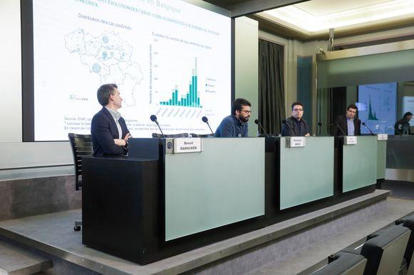 De dagelijkse persconferentie waarop de Belgische cijfers bekendgemaakt worden.