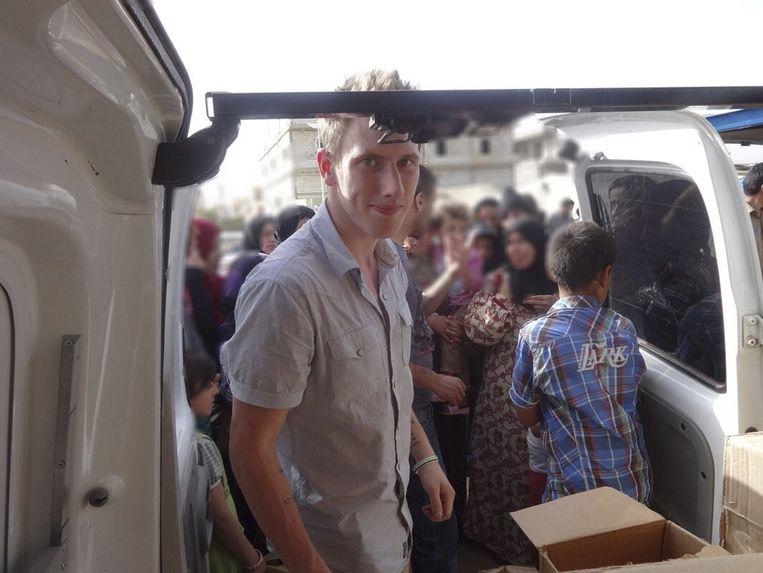 De Amerikaanse hulpverlener Peter Kassig aan het wek in de Libanese Bekaa-vallei.