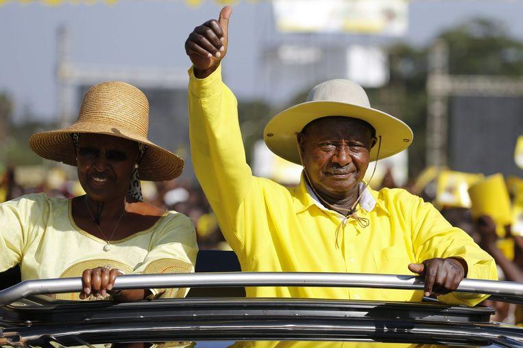 Janet Museveni en haar man. Beeld epa