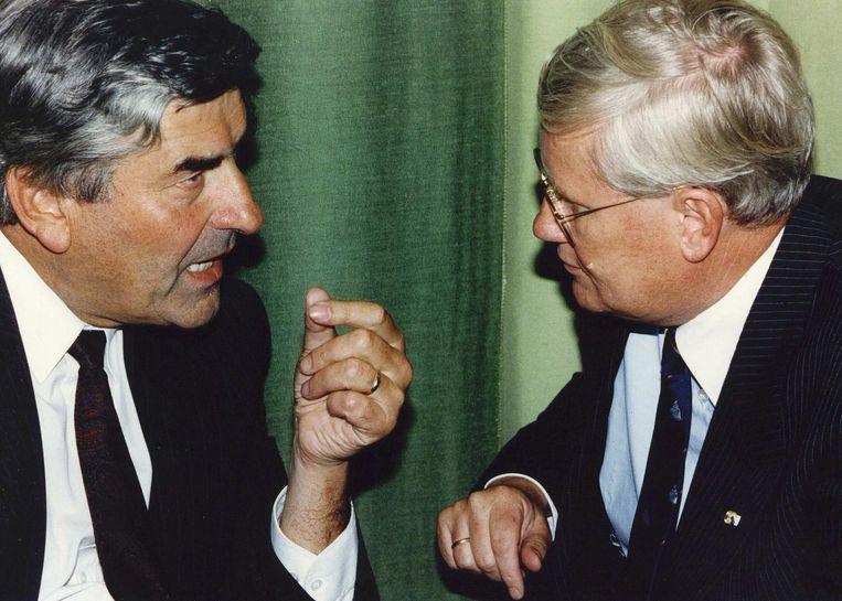 Hans Wiegel (rechts) en Ruud Lubbers in 1992. Beeld anp