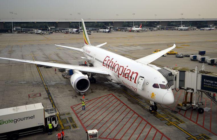 Een toestel van Ethiopian Airlines op Brussels Airport.