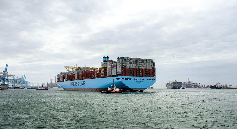 Aankomst in Rotterdam van de Maersk Madrid, daarachter gevolgd door de mv CMA CGM Bourgainville.