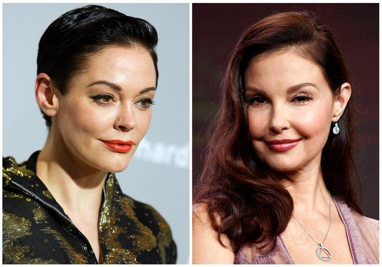 De Amerikaanse actrices Rose McGowan (links) en Ashley Judd (rechts) zouden onder meer een minnelijke schikking hebben getroffen met Weinstein.
