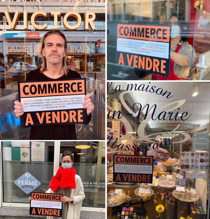 """Des commerçants liégeois affichent avec une pancarte """"Commerce à vendre""""."""