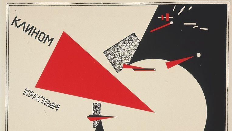 Ontwerp van schilder El Lissitzky: Sla de witten met de rode wig (1919-1920) Beeld null