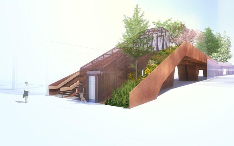 Impressie van de Paleisbrug door Benthem Crouwel Architects. Beeld .
