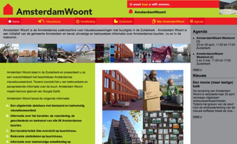 Naast alle bestaande huizenzoeksites is de gemeente in samenwerking met de woningcorporaties een nieuwe database begonnen: www.amsterdamwoont.nl. Screenshot van website Beeld