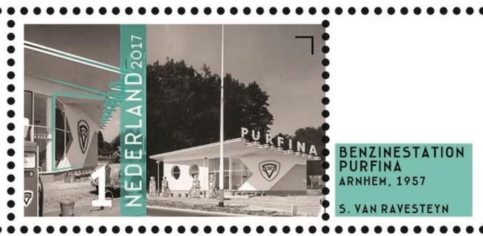 De 'wederopbouwpostzegel' met het voormalige Purfina-tankstation aan de Apeldoornseweg in Arnhem.