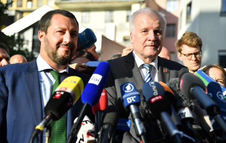 De Italiaanse minister van Binnenlandse Zaken Matteo Salvini (L) en de Duitse minister van Binnenlandse Zaken Horst Seehofer (R).