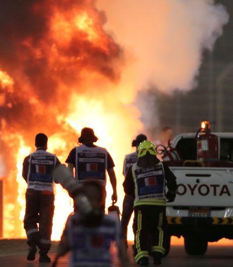 Vrouw van Grosjean dankt hulpverleners na crash: 'Superhelden'