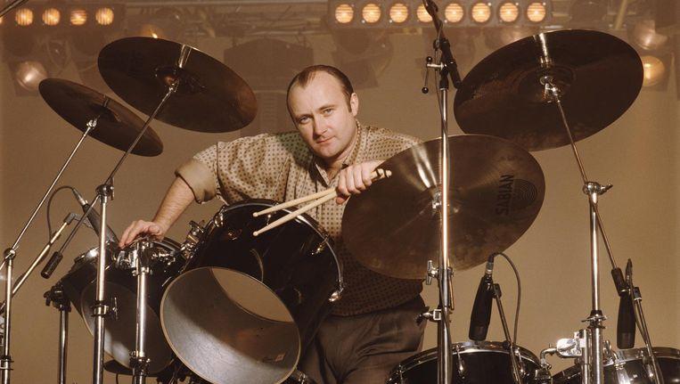 Phil Collins achter zijn drumstel. Beeld getty