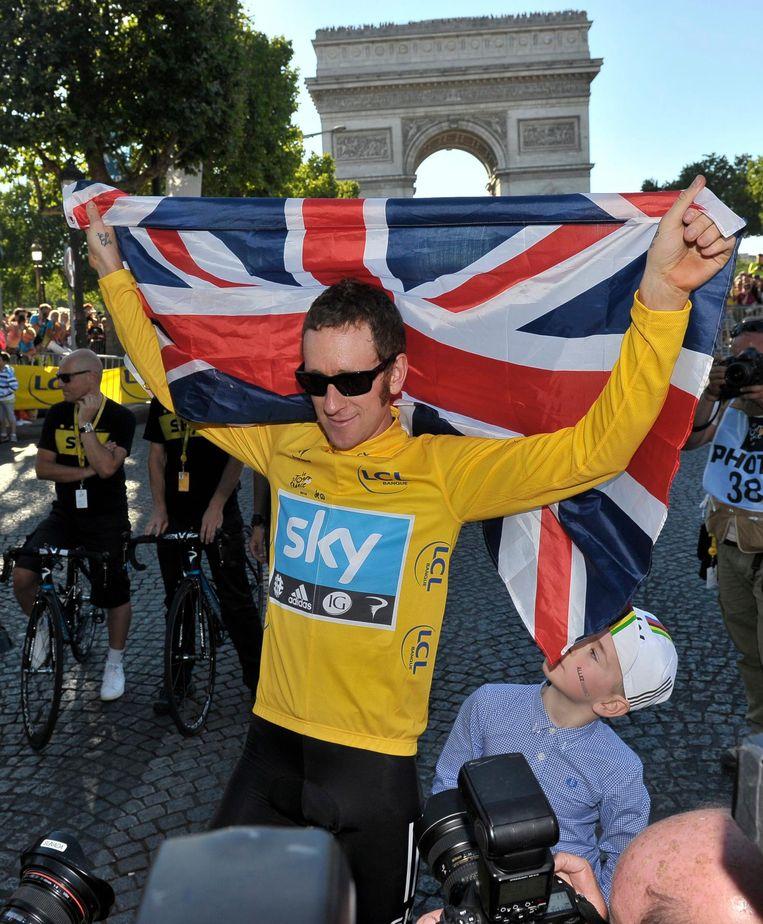 Bradley Wiggins na zijn winst in de Tour de France Beeld anp