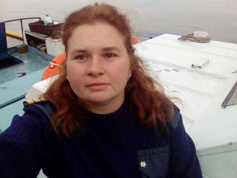 Svetlana Medvedeva, Ruslands eerste hoofdmachinist op een binnenvaartschip.  Beeld RV
