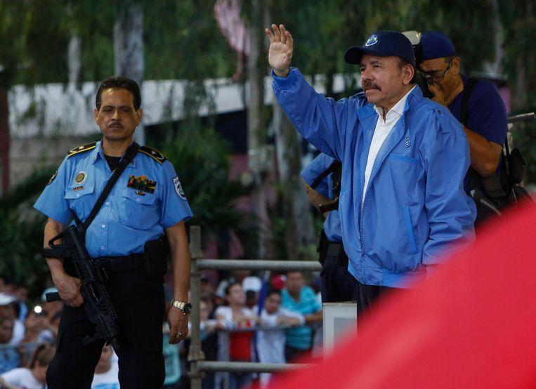 Daniel Ortega, de president van Nicaragua (rechts).
