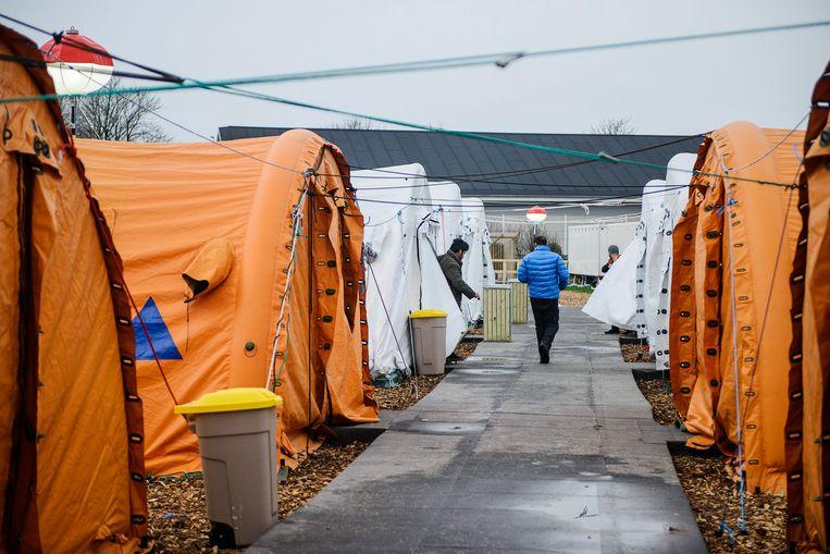 Denemarken besloot de afgelopen jaren al meermalen faciliteiten voor asielzoekers te versoberen. Deze foto uit januari 2016 toont een vluchtelingenkamp in Thisted, in het noorden van Jutland. Beeld EPA