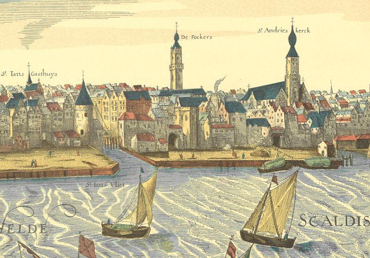 17de-eeuws Redezicht van Antwerpen ter hoogte van Sint-Jansvliet, gelegen tussen de aanlegplaats van de Sanderspoort (links) en de aanlegplaats van de Hooipoort (rechts). Op de hoek tussen Sanderspoort en de Sint-Jansvliet stond de Blauwbaardtoren.