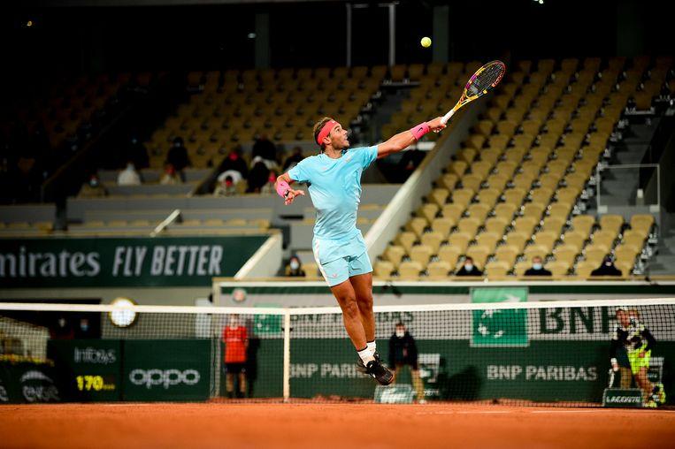 Rafael Nadal tijdens de wedstrijd tegen Jannik Sinner. Beeld BSR Agency