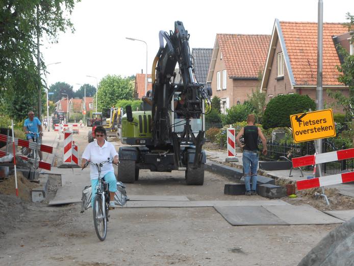 De Heideweg vorig jaar tijdens de inmiddels afgeronde werkzaamheden.