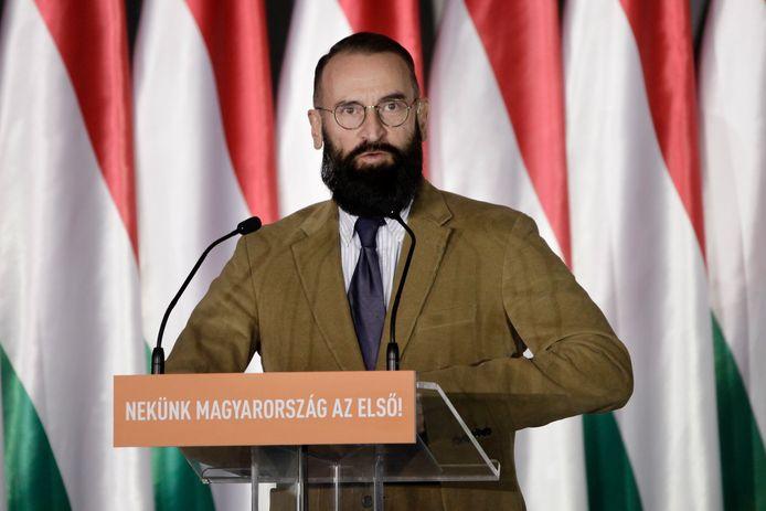 Jozsef Szajer vorig jaar tijdens een campagnespeech.