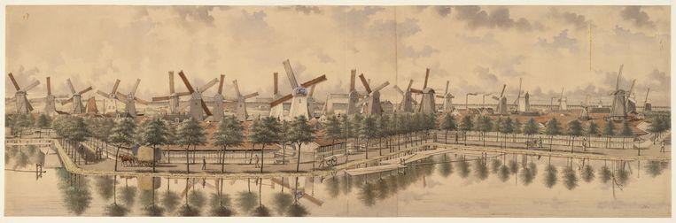 Titel Molenpanorama van J. Rieke (1851-1899) uit 1880. De negende molen van links is De Otter. Beeld Stadsarchief Amsterdam/Rieke, J.M.A
