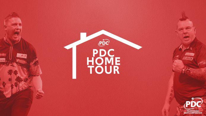 De poster van de PDC Home Tour met naast Chris Dobey wereldkampioen Peter Wright.